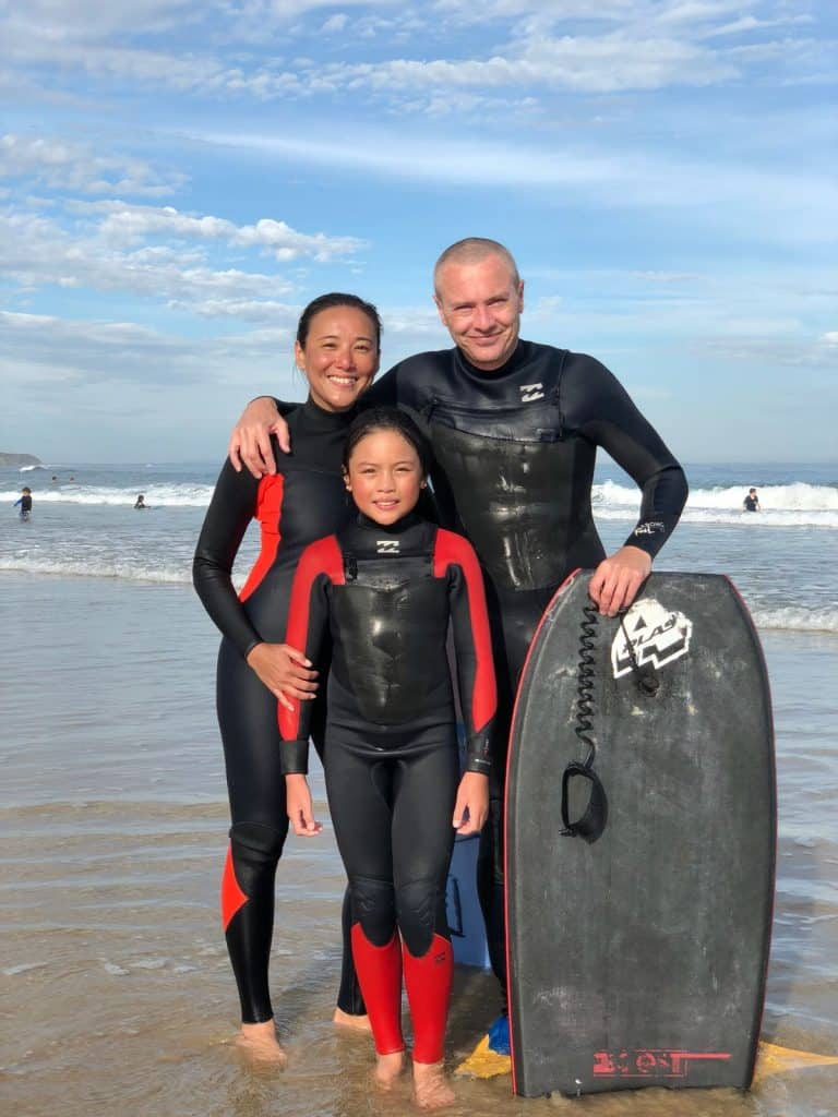 A bodyboarding family portrait