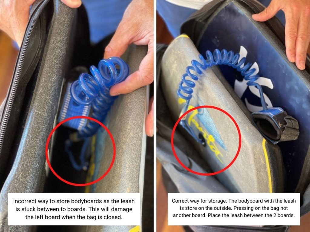 How to store bodyboard leash in bodyboard bag