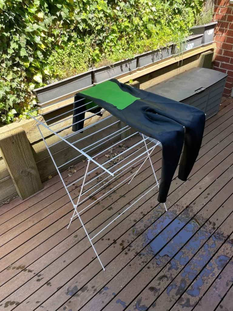 Drying a wetsuit on a clothes horse