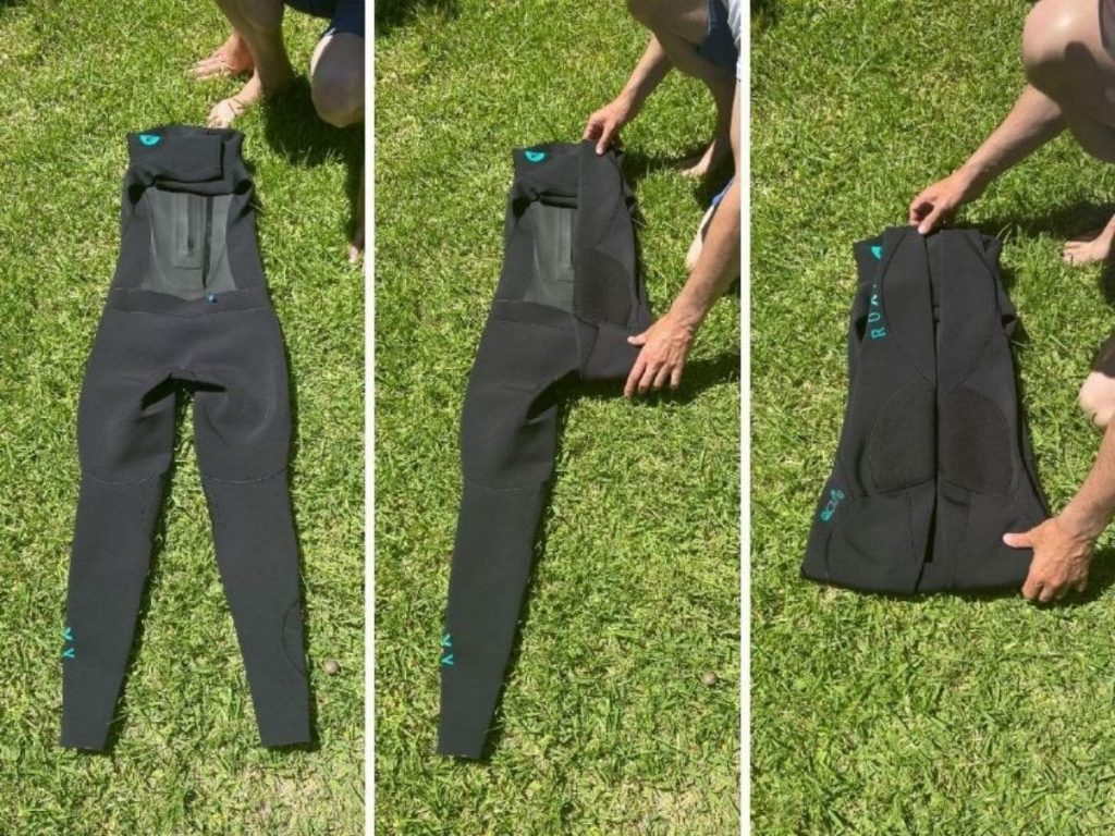 How to roll wetsuit step 1 of 2