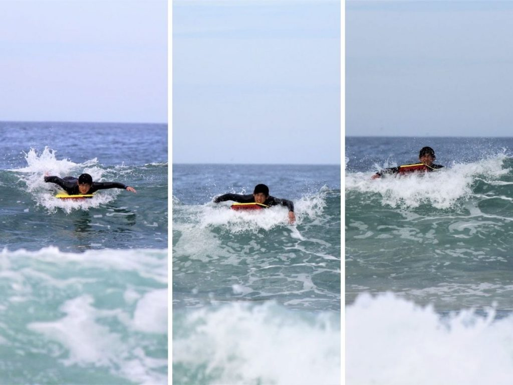 Bodyboarder missing a wave