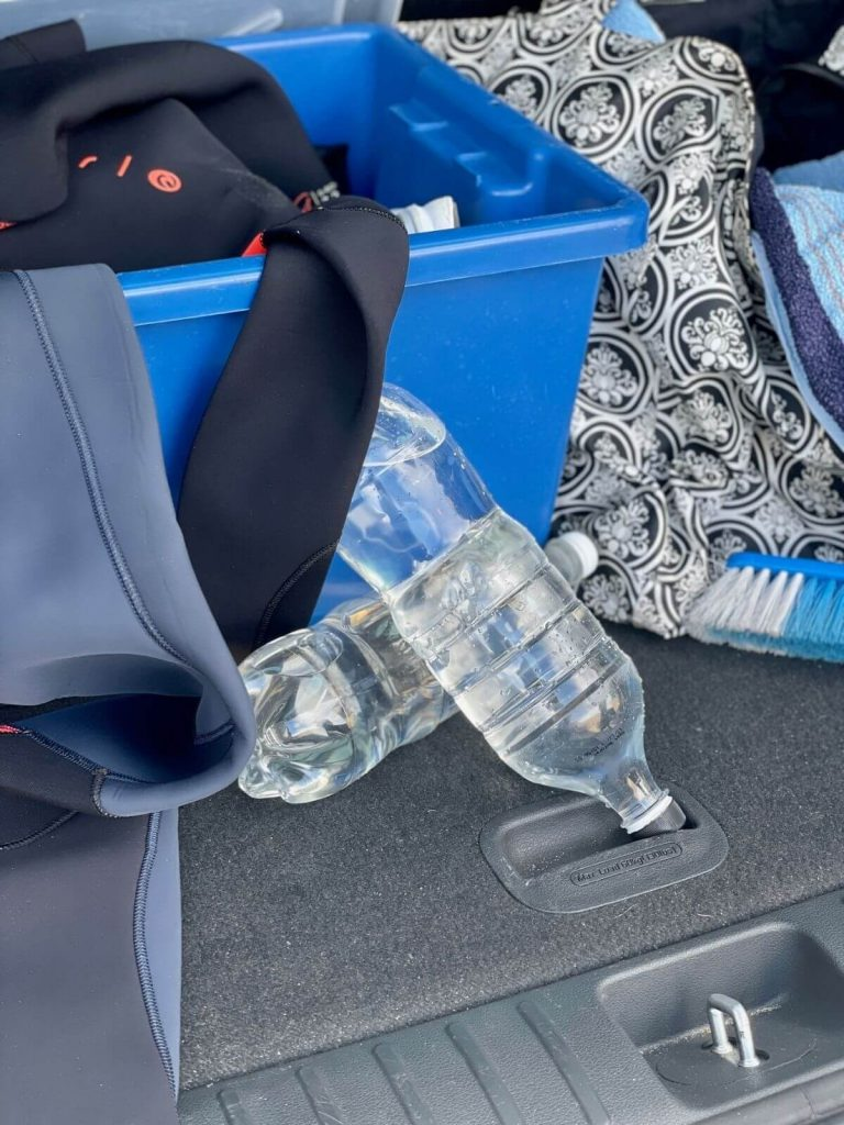 Water bottles in the boot of the car