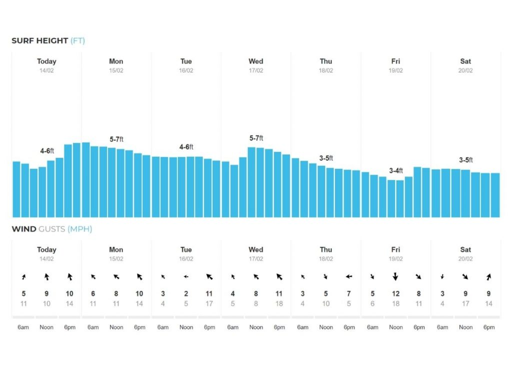 Surf and wind forecast in in surf report
