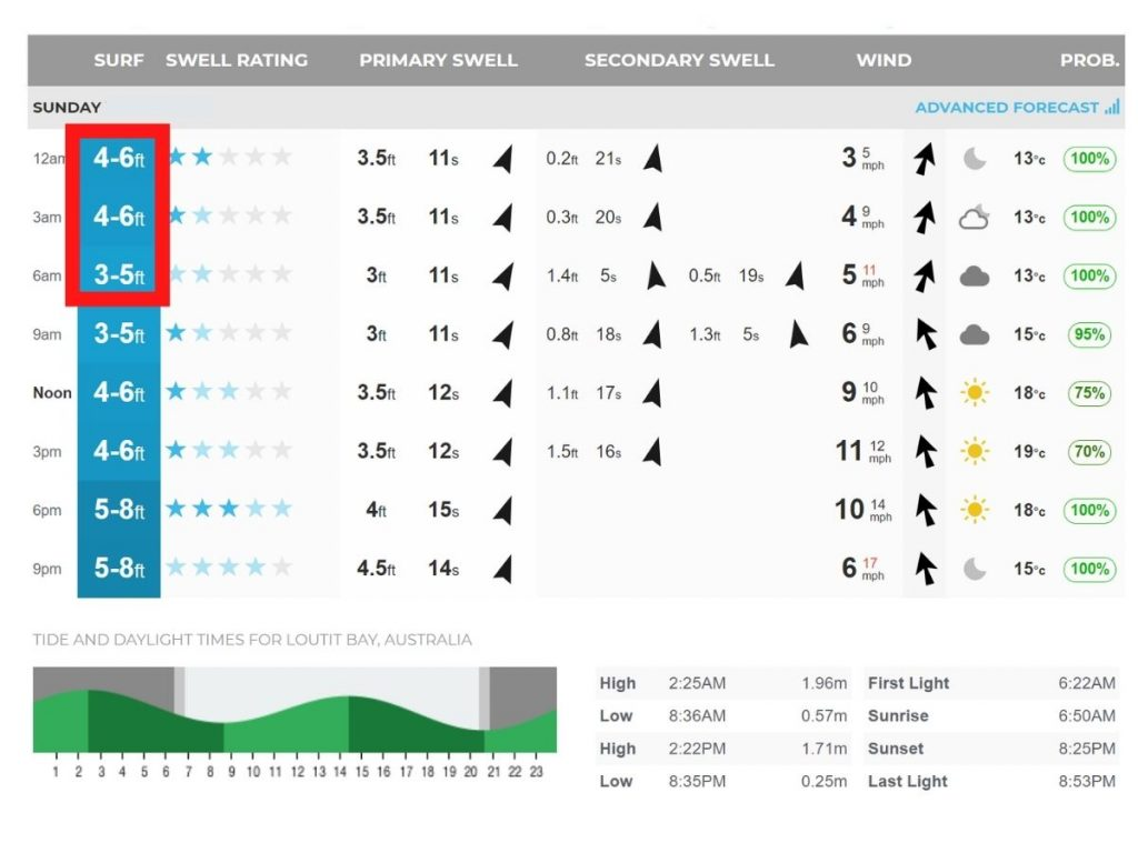 Wave height in surf report